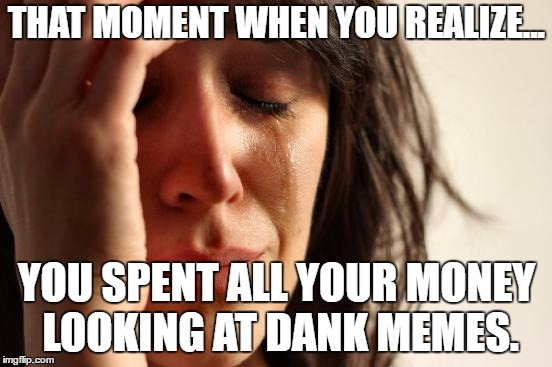First World Problems Meme | THAT MOMENT WHEN YOU REALIZE... YOU SPENT ALL YOUR MONEY LOOKING AT DANK MEMES. | image tagged in memes,first world problems | made w/ Imgflip meme maker