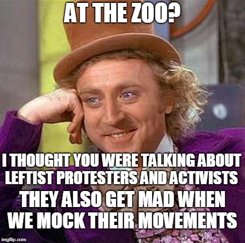 Creepy Condescending Wonka Meme | AT THE ZOO? THEY ALSO GET MAD WHEN WE MOCK THEIR MOVEMENTS I THOUGHT YOU WERE TALKING ABOUT LEFTIST PROTESTERS AND ACTIVISTS | image tagged in memes,creepy condescending wonka | made w/ Imgflip meme maker