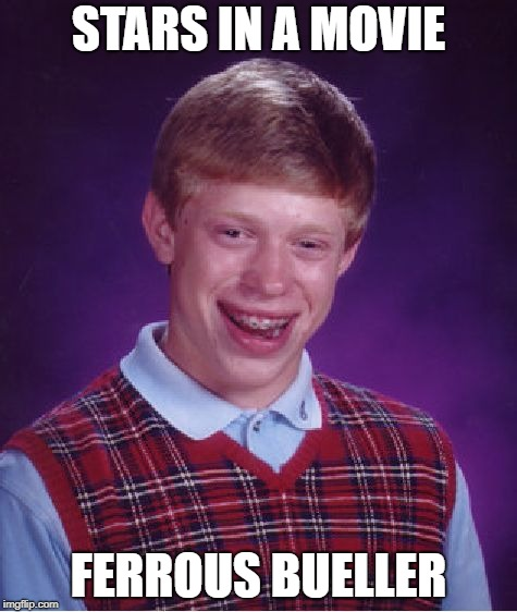 Bad Luck Brian Meme | STARS IN A MOVIE FERROUS BUELLER | image tagged in memes,bad luck brian | made w/ Imgflip meme maker