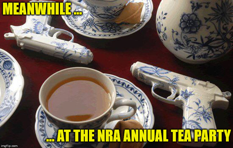 not to be confused with the T.E.A. party | MEANWHILE ... ... AT THE NRA ANNUAL TEA PARTY | image tagged in guns,nra,tea party | made w/ Imgflip meme maker