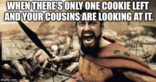 Sparta Leonidas | WHEN THERE'S ONLY ONE COOKIE LEFT AND YOUR COUSINS ARE LOOKING AT IT. | image tagged in memes,sparta leonidas | made w/ Imgflip meme maker