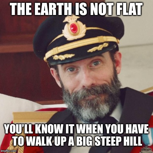 Captain Obvious | THE EARTH IS NOT FLAT YOU'LL KNOW IT WHEN YOU HAVE TO WALK UP A BIG STEEP HILL | image tagged in captain obvious,memes | made w/ Imgflip meme maker
