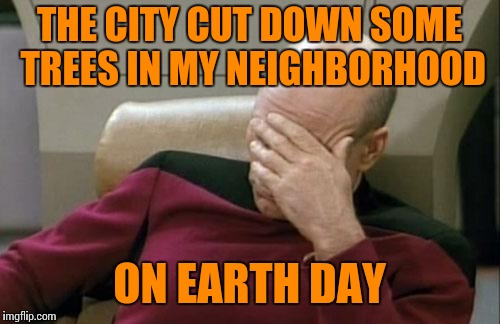 Captain Picard Facepalm Meme | THE CITY CUT DOWN SOME TREES IN MY NEIGHBORHOOD ON EARTH DAY | image tagged in memes,captain picard facepalm | made w/ Imgflip meme maker
