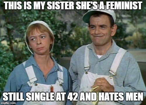 Green Acres | THIS IS MY SISTER SHE'S A FEMINIST STILL SINGLE AT 42 AND HATES MEN | image tagged in green acres | made w/ Imgflip meme maker