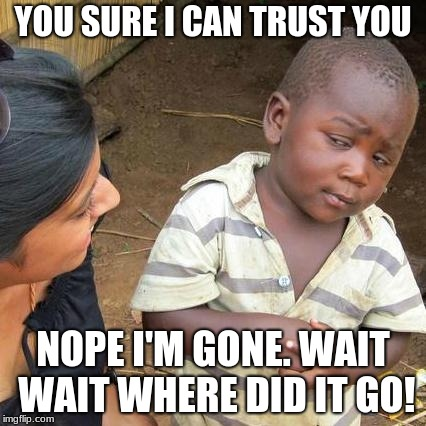 Trust | YOU SURE I CAN TRUST YOU NOPE I'M GONE. WAIT WAIT WHERE DID IT GO! | image tagged in memes,third world skeptical kid | made w/ Imgflip meme maker