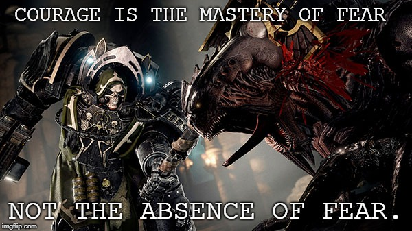 Though of the day! | COURAGE IS THE MASTERY OF FEAR NOT THE ABSENCE OF FEAR. | image tagged in funny memes,memes,warhammer 40k,warhammer | made w/ Imgflip meme maker