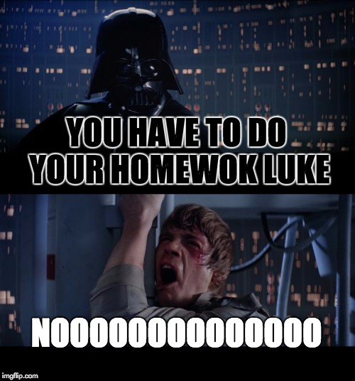 Star Wars No Meme | YOU HAVE TO DO YOUR HOMEWOK LUKE NOOOOOOOOOOOOOO | image tagged in memes,star wars no | made w/ Imgflip meme maker