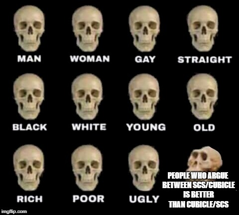 idiot skull | PEOPLE WHO ARGUE BETWEEN SCS/CUBICLE IS BETTER THAN CUBICLE/SCS | image tagged in idiot skull,meme,rubik cube,rubik's cube,rubiks cube,so true memes | made w/ Imgflip meme maker