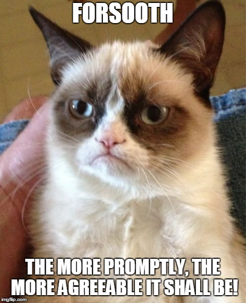 Grumpy Cat Meme | FORSOOTH THE MORE PROMPTLY, THE MORE AGREEABLE IT SHALL BE! | image tagged in memes,grumpy cat | made w/ Imgflip meme maker