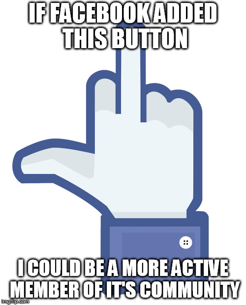 IF FACEBOOK ADDED THIS BUTTON I COULD BE A MORE ACTIVE MEMBER OF IT'S COMMUNITY | image tagged in the finger 2 | made w/ Imgflip meme maker