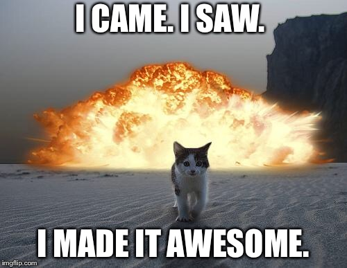 cat explosion | I CAME. I SAW. I MADE IT AWESOME. | image tagged in cat explosion | made w/ Imgflip meme maker