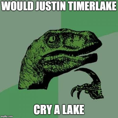 Philosoraptor Meme | WOULD JUSTIN TIMERLAKE CRY A LAKE | image tagged in memes,philosoraptor | made w/ Imgflip meme maker