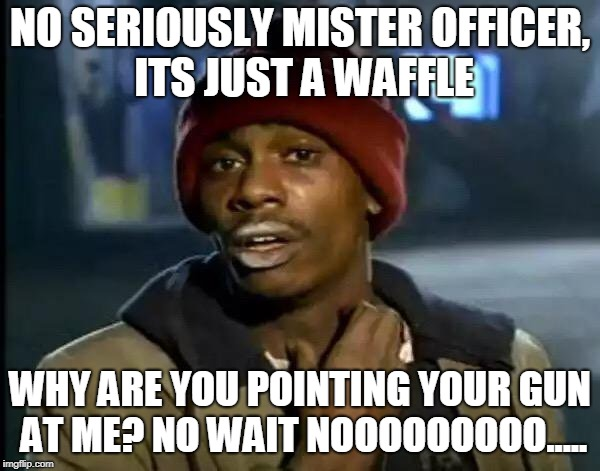 Y'all Got Any More Of That Meme | NO SERIOUSLY MISTER OFFICER, ITS JUST A WAFFLE WHY ARE YOU POINTING YOUR GUN AT ME? NO WAIT NOOOOOOOOO..... | image tagged in memes,y'all got any more of that | made w/ Imgflip meme maker