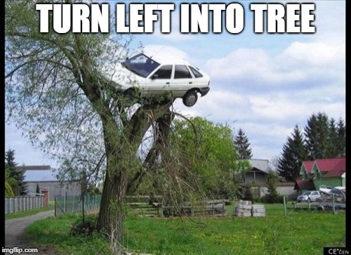 Secure Parking | TURN LEFT INTO TREE | image tagged in memes,secure parking | made w/ Imgflip meme maker