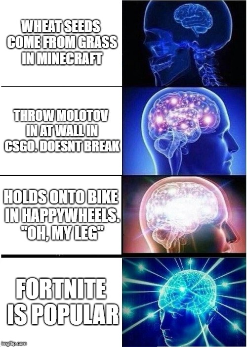 "Expanding Brain Meme | WHEAT SEEDS COME FROM GRASS IN MINECRAFT THROW MOLOTOV IN AT WALL IN CSGO. DOESNT BREAK HOLDS ONTO BIKE IN HAPPYWHEELS. ""OH, MY LEG"" FORTNIT 