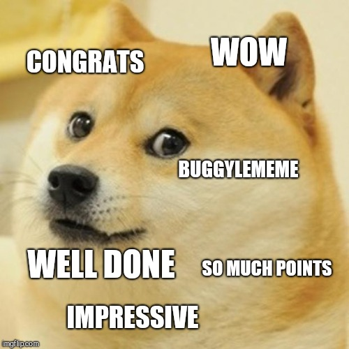 Doge Meme | WOW SO MUCH POINTS BUGGYLEMEME IMPRESSIVE CONGRATS WELL DONE | image tagged in memes,doge | made w/ Imgflip meme maker