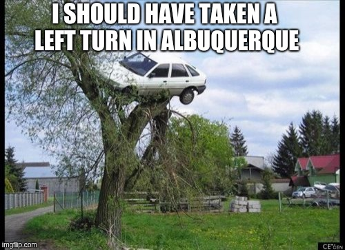 Secure Parking Meme | I SHOULD HAVE TAKEN A LEFT TURN IN ALBUQUERQUE | image tagged in memes,secure parking | made w/ Imgflip meme maker