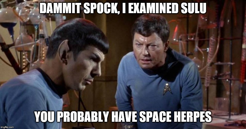 DAMMIT SPOCK, I EXAMINED SULU YOU PROBABLY HAVE SPACE HERPES | made w/ Imgflip meme maker