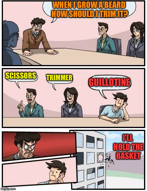 Boardroom Meeting Suggestion Meme | WHEN I GROW A BEARD HOW SHOULD I TRIM IT? SCISSORS TRIMMER GUILLOTINE I'LL HOLD THE BASKET | image tagged in memes,boardroom meeting suggestion | made w/ Imgflip meme maker