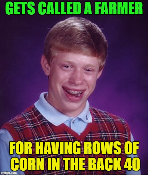 Bad Luck Brian Meme | GETS CALLED A FARMER FOR HAVING ROWS OF CORN IN THE BACK 40 | image tagged in memes,bad luck brian | made w/ Imgflip meme maker