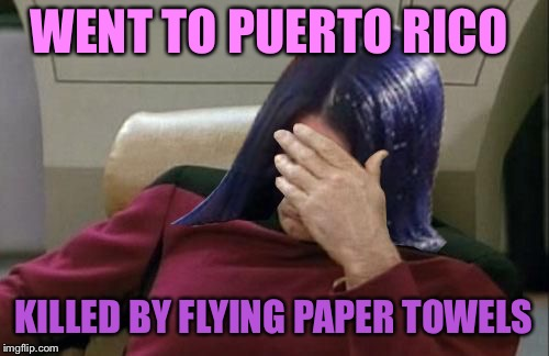Mima facepalm | WENT TO PUERTO RICO KILLED BY FLYING PAPER TOWELS | image tagged in mima facepalm | made w/ Imgflip meme maker