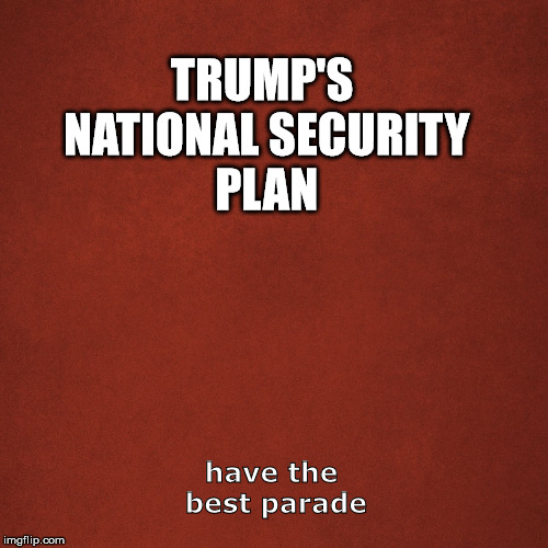 Blank Red Background | TRUMP'S NATIONAL SECURITY PLAN have the best parade | image tagged in blank red background | made w/ Imgflip meme maker