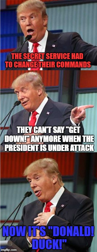 "Heard this Joke, had to make the meme | THE SECRET SERVICE HAD TO CHANGE THEIR COMMANDS THEY CAN'T SAY ""GET DOWN!"" ANYMORE WHEN THE PRESIDENT IS UNDER ATTACK NOW IT'S ""DONALD! DUCK 