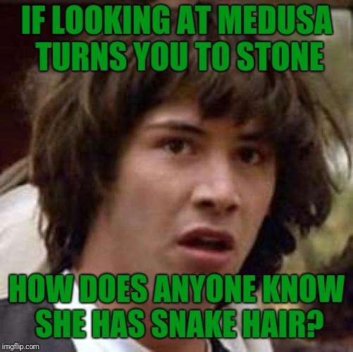 I doubt mirrors were that common in ancient greece. | IF LOOKING AT MEDUSA TURNS YOU TO STONE HOW DOES ANYONE KNOW SHE HAS SNAKE HAIR? | image tagged in memes,conspiracy keanu,greek mythology | made w/ Imgflip meme maker
