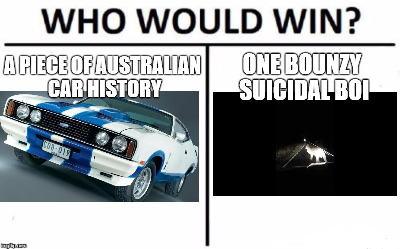 Who Would Win? Meme | A PIECE OF AUSTRALIAN CAR HISTORY ONE BOUNZY SUICIDAL BOI | image tagged in memes,who would win | made w/ Imgflip meme maker