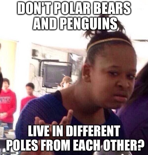 Black Girl Wat Meme | DON'T POLAR BEARS AND PENGUINS LIVE IN DIFFERENT POLES FROM EACH OTHER? | image tagged in memes,black girl wat | made w/ Imgflip meme maker