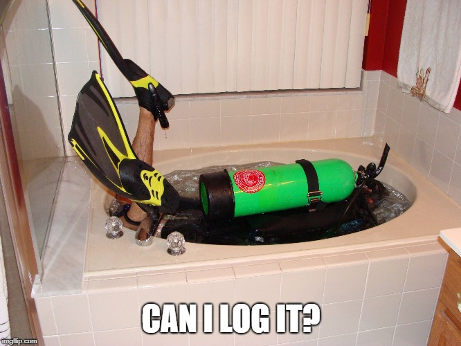CAN I LOG IT? | image tagged in landlocked scuba diver | made w/ Imgflip meme maker