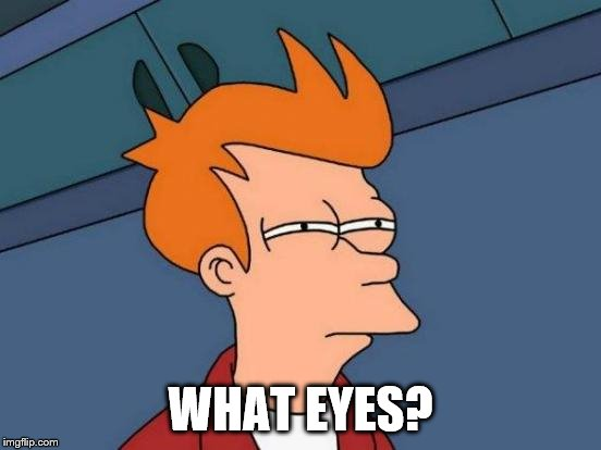 Futurama Fry Meme | WHAT EYES? | image tagged in memes,futurama fry | made w/ Imgflip meme maker