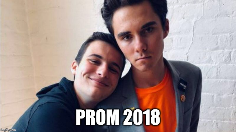 Why isn't Boss Hogg smiling? | PROM 2018 | image tagged in david hogg,prom,parkland | made w/ Imgflip meme maker