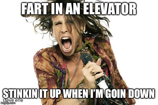Steve Tyler Aerosmith | FART IN AN ELEVATOR STINKIN IT UP WHEN I'M GOIN DOWN | image tagged in steve tyler aerosmith | made w/ Imgflip meme maker