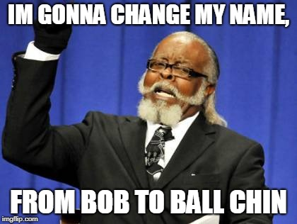 Too Damn High Meme | IM GONNA CHANGE MY NAME, FROM BOB TO BALL CHIN | image tagged in memes,too damn high | made w/ Imgflip meme maker