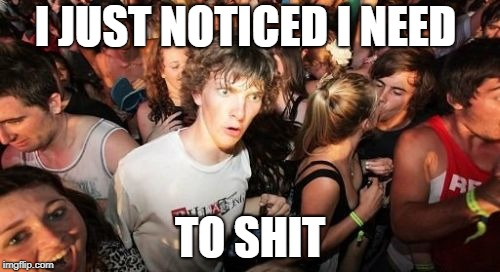 Sudden Clarity Clarence Meme | I JUST NOTICED I NEED TO SHIT | image tagged in memes,sudden clarity clarence | made w/ Imgflip meme maker