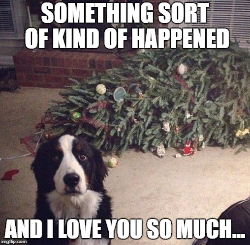 Cat did it | SOMETHING SORT OF KIND OF HAPPENED AND I LOVE YOU SO MUCH... | image tagged in dog christmas tree | made w/ Imgflip meme maker