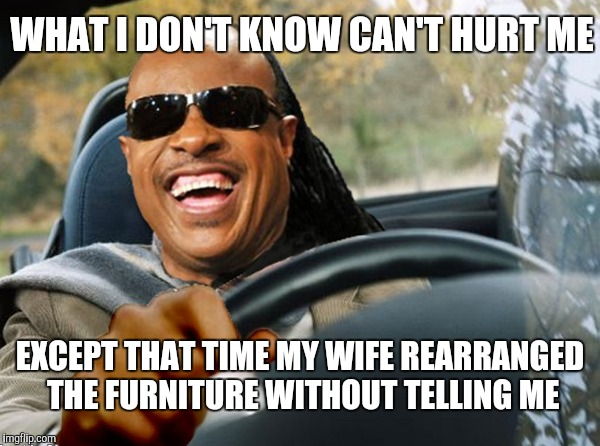 WHAT I DON'T KNOW CAN'T HURT ME EXCEPT THAT TIME MY WIFE REARRANGED THE FURNITURE WITHOUT TELLING ME | made w/ Imgflip meme maker