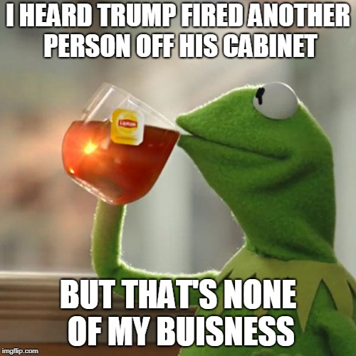 Trump Fired Someone Off His Cabinet Again | I HEARD TRUMP FIRED ANOTHER PERSON OFF HIS CABINET BUT THAT'S NONE OF MY BUISNESS | image tagged in memes,but thats none of my business,kermit the frog,trumps cabinent | made w/ Imgflip meme maker