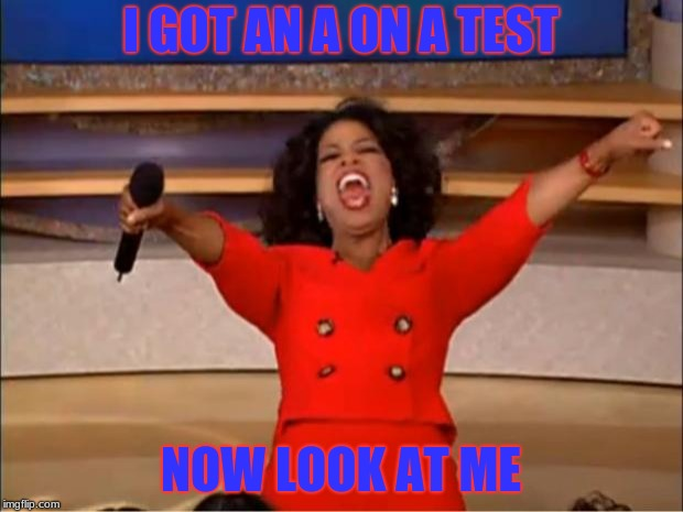 Oprah You Get A Meme | I GOT AN A ON A TEST NOW LOOK AT ME | image tagged in memes,oprah you get a | made w/ Imgflip meme maker