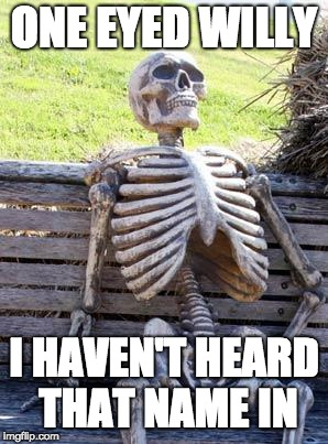 Waiting Skeleton Meme | ONE EYED WILLY I HAVEN'T HEARD THAT NAME IN | image tagged in memes,waiting skeleton | made w/ Imgflip meme maker