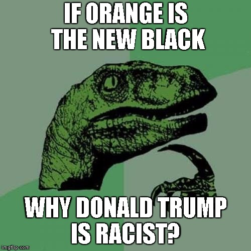 Philosoraptor Meme | IF ORANGE IS THE NEW BLACK WHY DONALD TRUMP IS RACIST? | image tagged in memes,philosoraptor | made w/ Imgflip meme maker