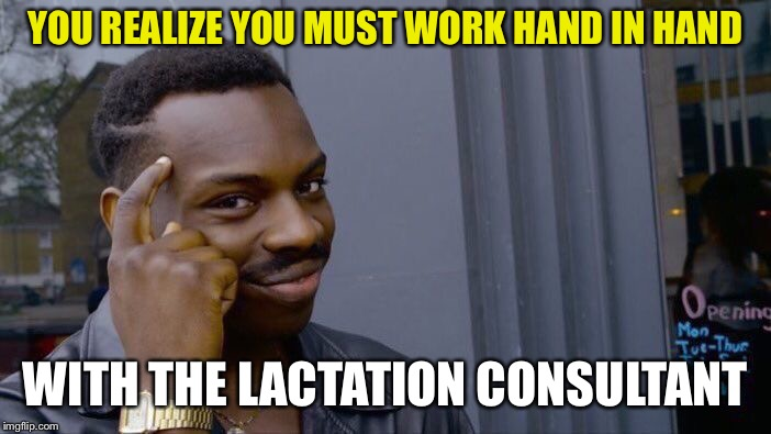 Roll Safe Think About It Meme | YOU REALIZE YOU MUST WORK HAND IN HAND WITH THE LACTATION CONSULTANT | image tagged in memes,roll safe think about it | made w/ Imgflip meme maker