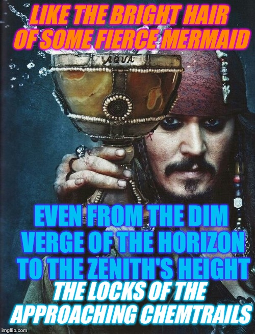 LIKE THE BRIGHT HAIR OF SOME FIERCE MERMAID EVEN FROM THE DIM VERGE OF THE HORIZON TO THE ZENITH'S HEIGHT THE LOCKS OF THE APPROACHING CHEMT | made w/ Imgflip meme maker