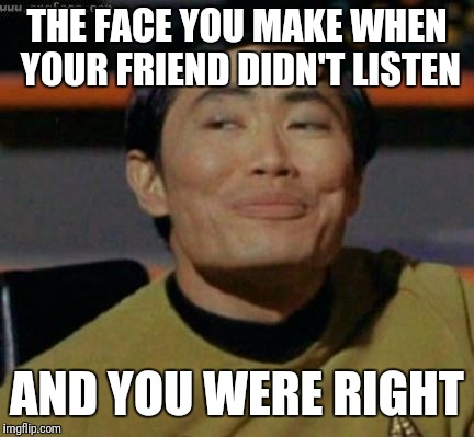 THE FACE YOU MAKE WHEN YOUR FRIEND DIDN'T LISTEN AND YOU WERE RIGHT | image tagged in sulu knows what you're talking about | made w/ Imgflip meme maker