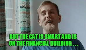 BUT THE CAT IS SMART AND IS ON THE FINANCIAL BUILDING . . . | made w/ Imgflip meme maker