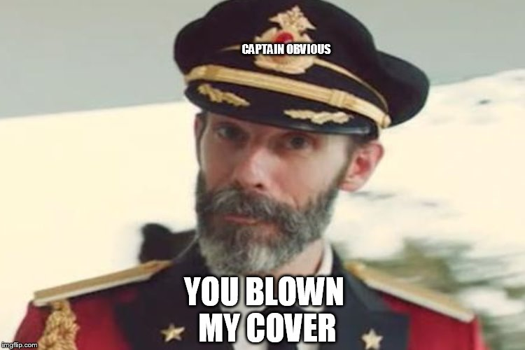 YOU BLOWN MY COVER CAPTAIN OBVIOUS | made w/ Imgflip meme maker