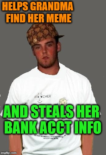warmer season Scumbag Steve | HELPS GRANDMA FIND HER MEME AND STEALS HER BANK ACCT INFO | image tagged in warmer season scumbag steve | made w/ Imgflip meme maker