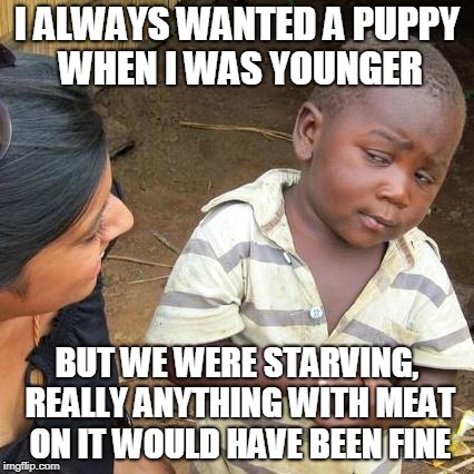 Third World Skeptical Kid Meme | I ALWAYS WANTED A PUPPY WHEN I WAS YOUNGER BUT WE WERE STARVING, REALLY ANYTHING WITH MEAT ON IT WOULD HAVE BEEN FINE | image tagged in memes,third world skeptical kid | made w/ Imgflip meme maker