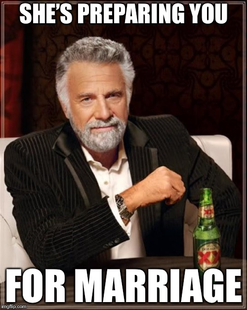 The Most Interesting Man In The World Meme | SHE'S PREPARING YOU FOR MARRIAGE | image tagged in memes,the most interesting man in the world | made w/ Imgflip meme maker